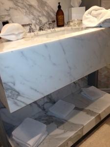 calicutta slab marble vanity