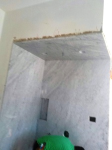 carrara slab shower cieling