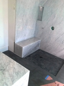 carrara slab with bench