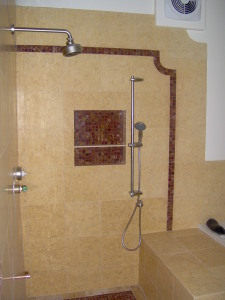 Limestone shower walls
