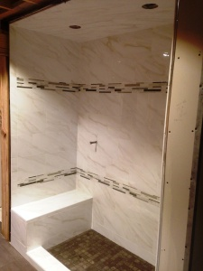 porcelain with bench shower