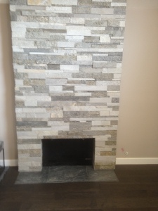stack stone fireplace slate hearth