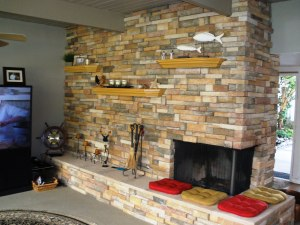 Stack stone front seating hearth