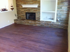 wood plank and fireplace
