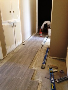 install of porcelain tile on landing