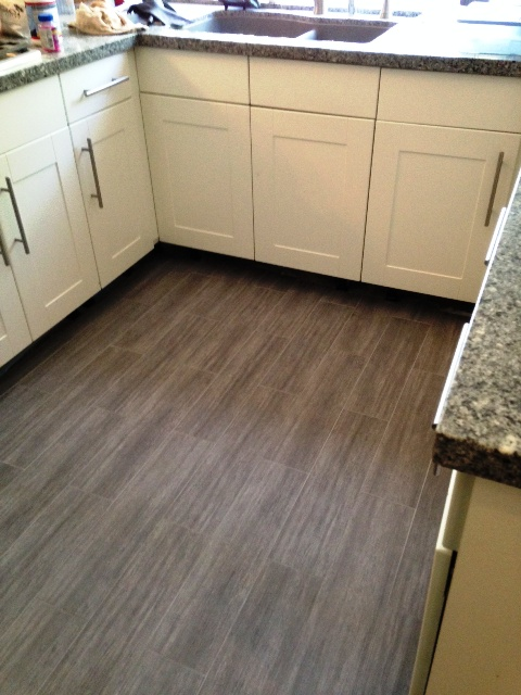 Finished Den Area Kitchen Floor In Wood Porcelain Tile