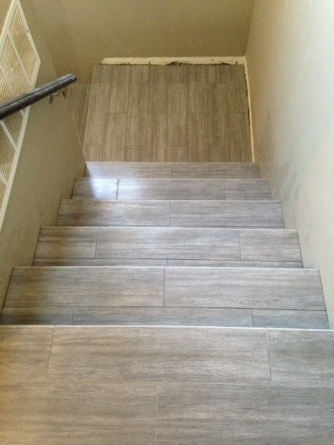 Porcelain Tile Stairway Photo Taken From Landing