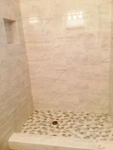 white carrara shower-After remodel