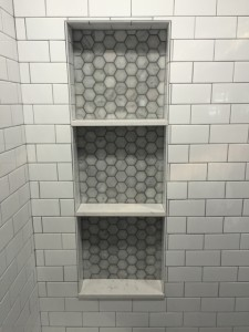 shower niche, carrara octagon mosaic