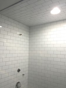 shower remodel with tile ceiling